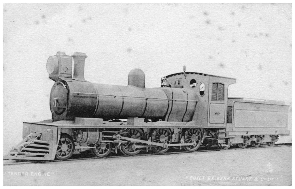 Detail of 4-6-0 tender engine, steam locomotive built by Kerr, Stuart and Co by Raphael Tuck