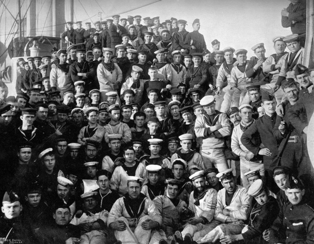 Detail of The company of the first class cruiser, HMS Imperieuse by A Debenham