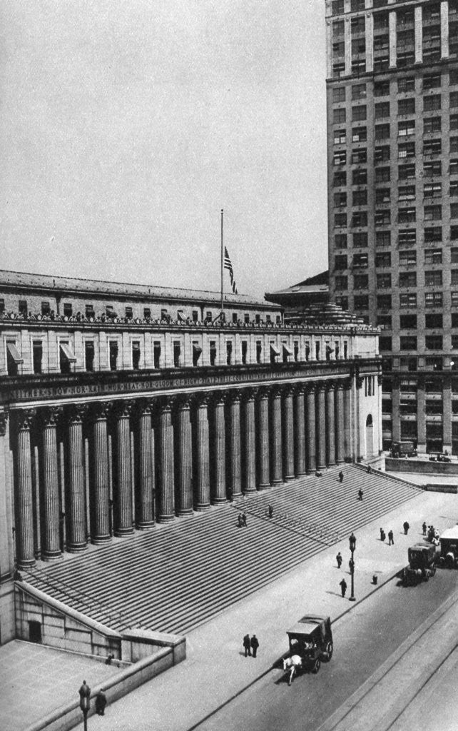 Detail of James Farley Post Office building, New York City, USA by Ewing Galloway