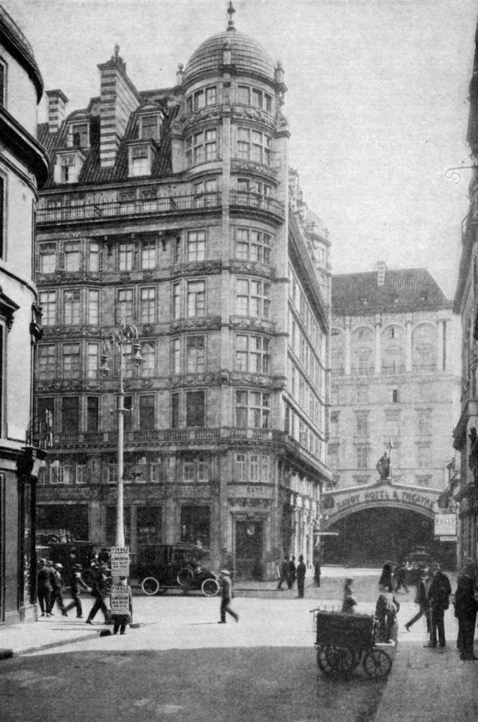 Detail of Savoy Hotel and Theatre across the Strand from Norfolk Street, London by Anonymous