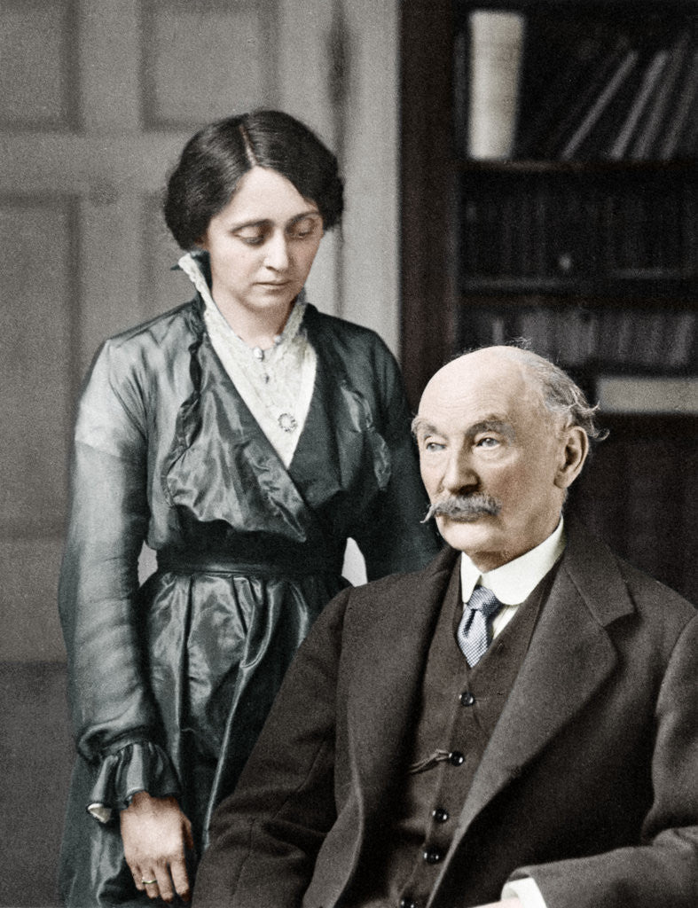 Detail of Thomas Hardy, English poet, novelist and dramatist with his second wife, Florence by Anonymous