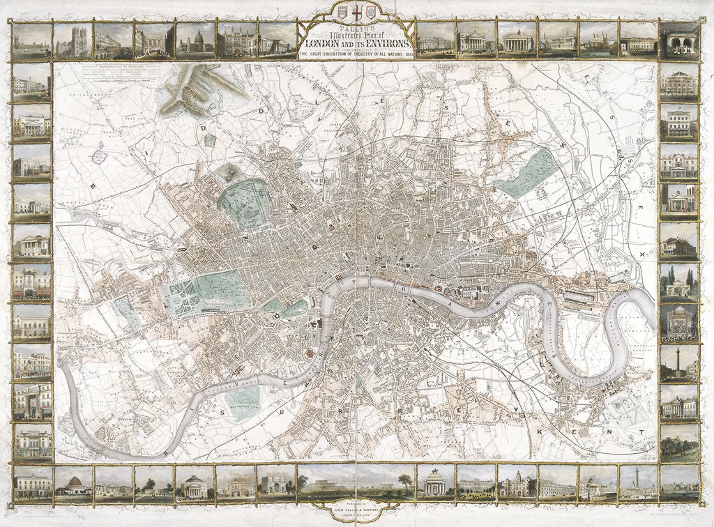 Detail of Map of London by H Lacey