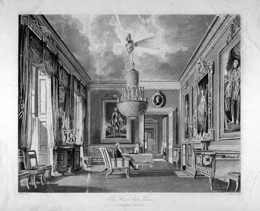 Detail of Interior view of the west ante-room in Carlton House, Westminster, London by