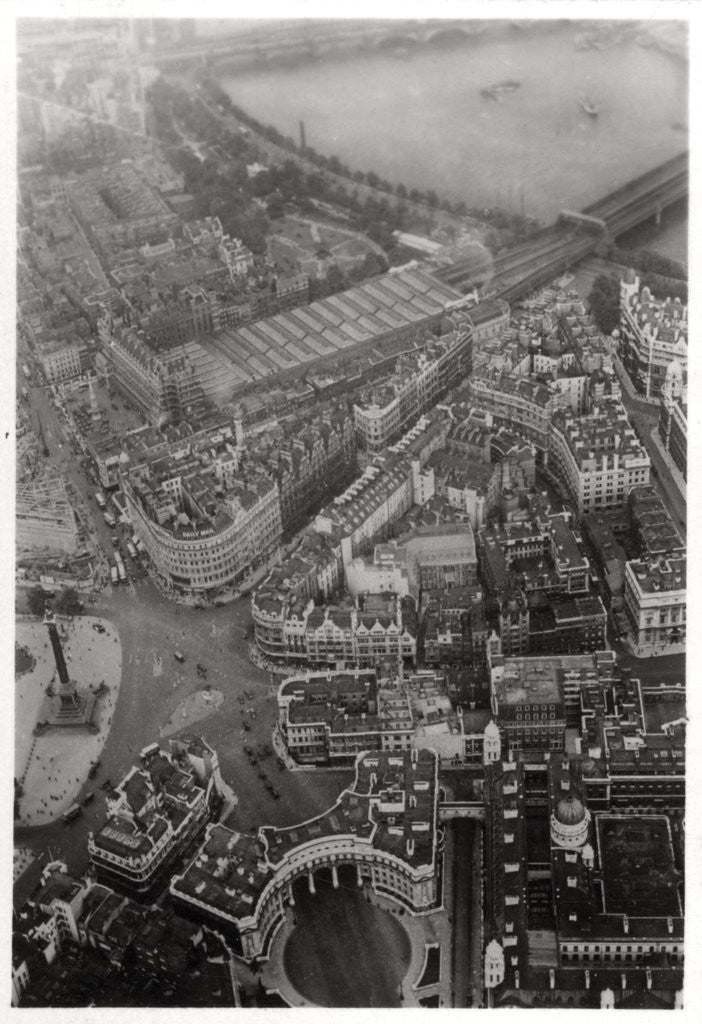 Detail of Aerial view of Trafalgar Square, London, from a Zeppelin by Anonymous