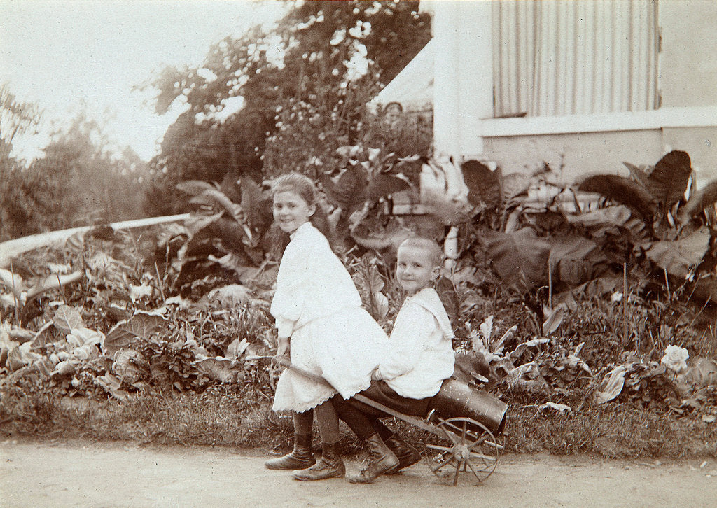 Detail of Two children playing outdoors, 1890s by Unknown