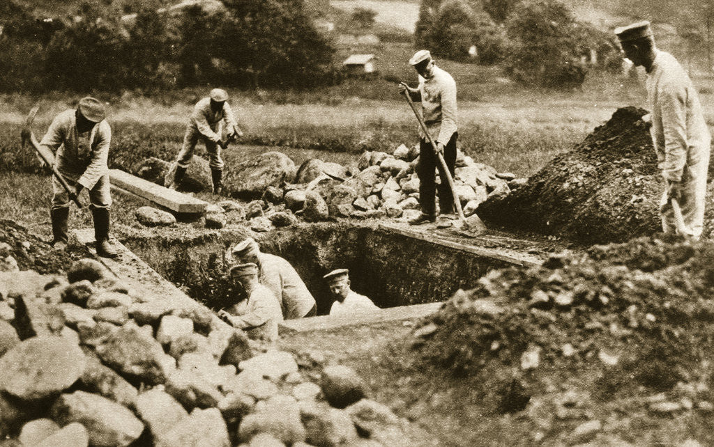 Detail of Digging mass graves behind the German lines by Anonymous