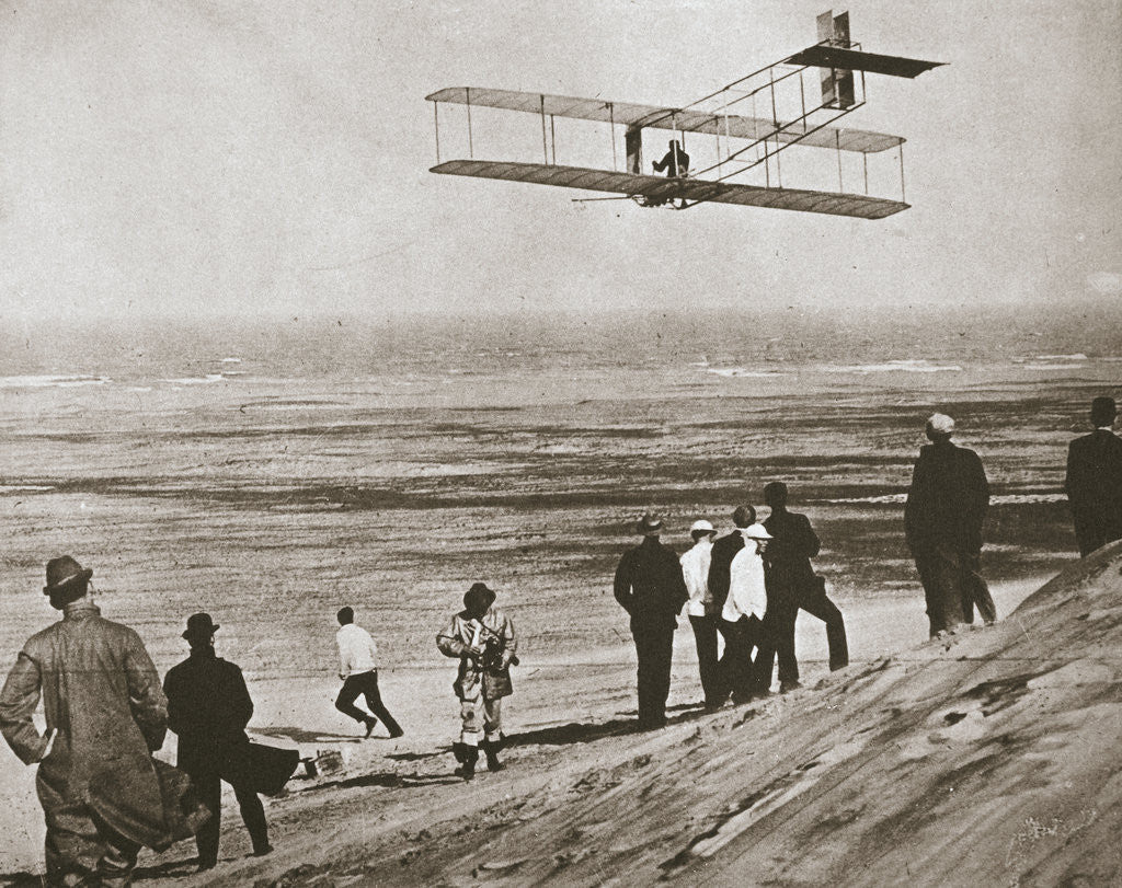 Detail of The Wright Brothers testing an early plane at Kitty Hawk by Anonymous