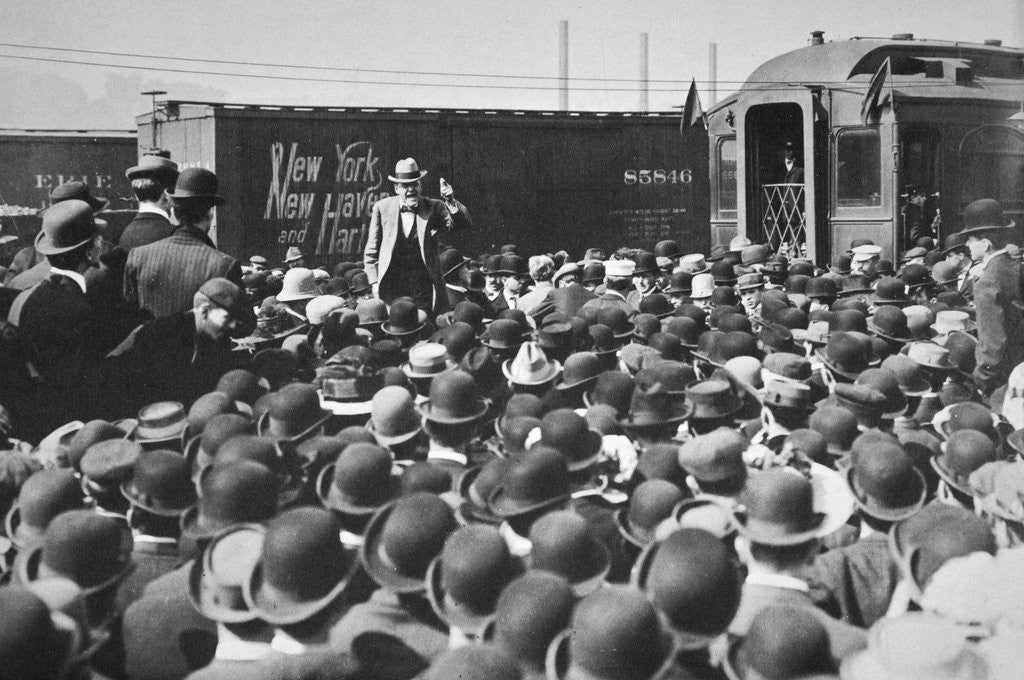 Detail of Eugene Victor Debs, American Union leader, addressing a crowd by Anonymous