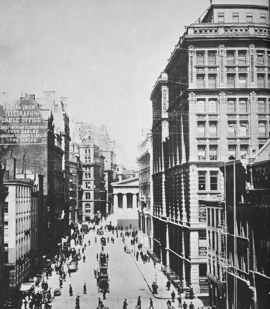 Detail of Broad Street, looking towards Wall Street by Anonymous