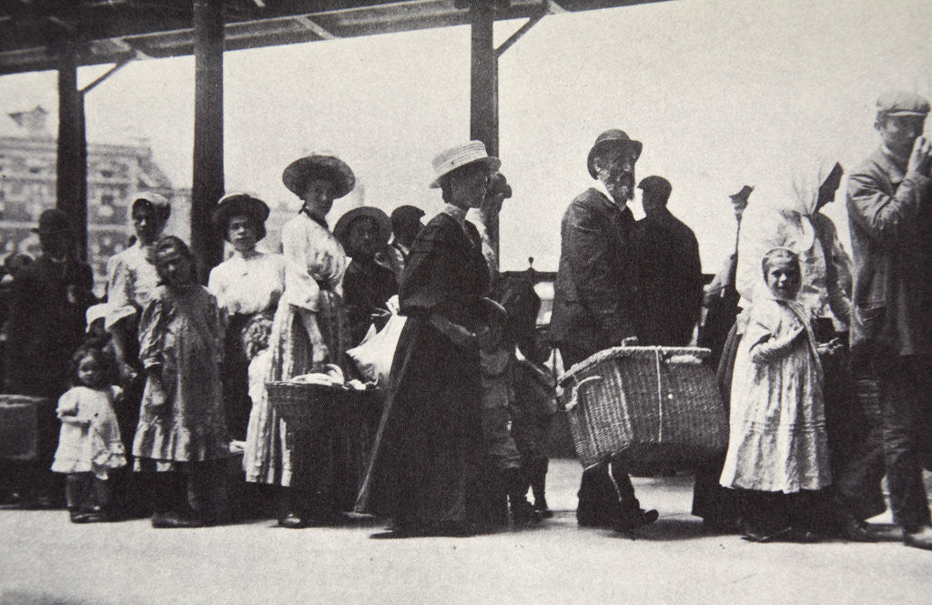 Detail of Immigrants arriving at Ellis Island by Anonymous