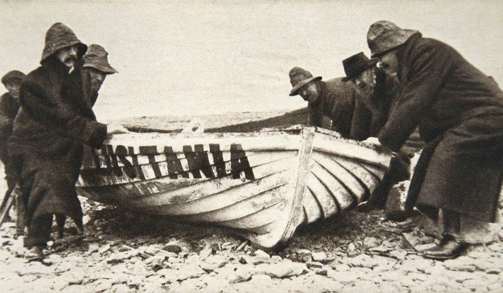 Detail of Hauling one of the 'Lusitania's' lifeboats onto the beach by Clarke & Hyde