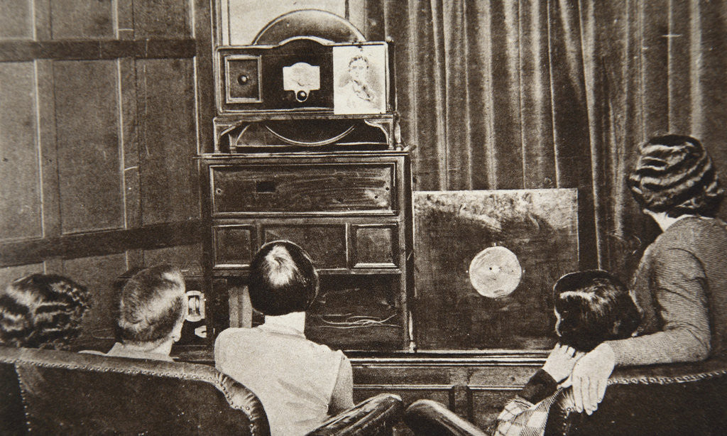 Detail of People watching an early television transmission by Anonymous