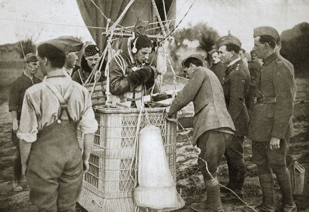 Detail of Observer of a kite-balloon testing the telephone before ascending by Anonymous