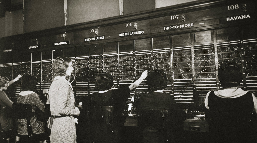Detail of Female workers in the telephone room, New York Stock Exchange by Anonymous