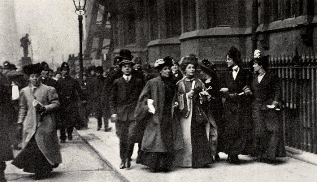 Detail of Emmeline Pankhurst, British suffragette leader, carrying a petition by Anonymous