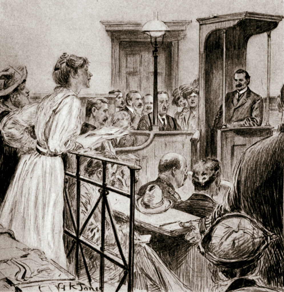 Detail of Christabel Pankhurst, British suffragette, questioning Herbert Gladstone in court by GK Jones