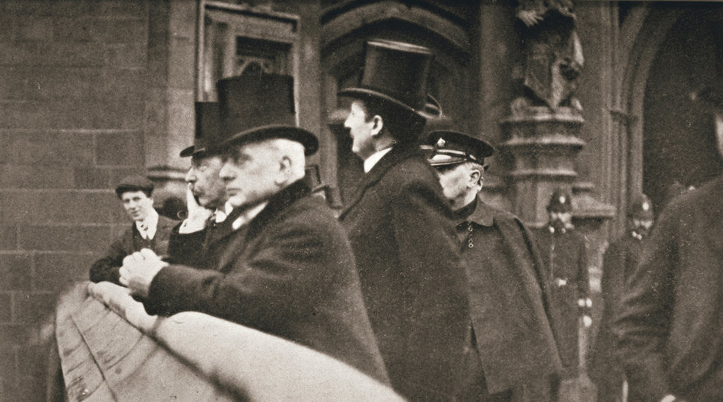 Members of both Houses watching suffragettes in Parliament Square by Anonymous