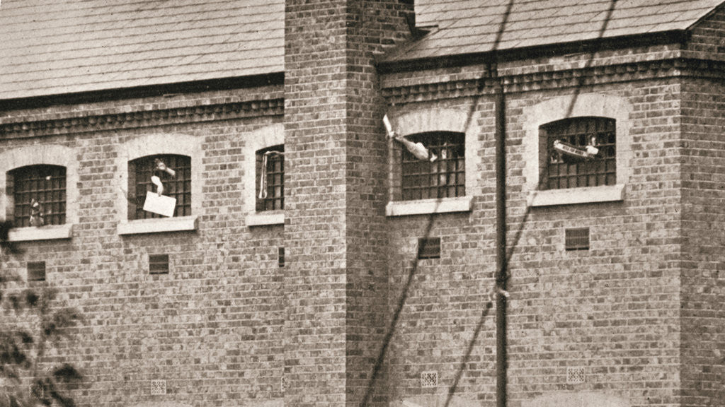Detail of Hunger strikers waving to Christabel Pankhurst from their cells in Holloway Prison by Anonymous