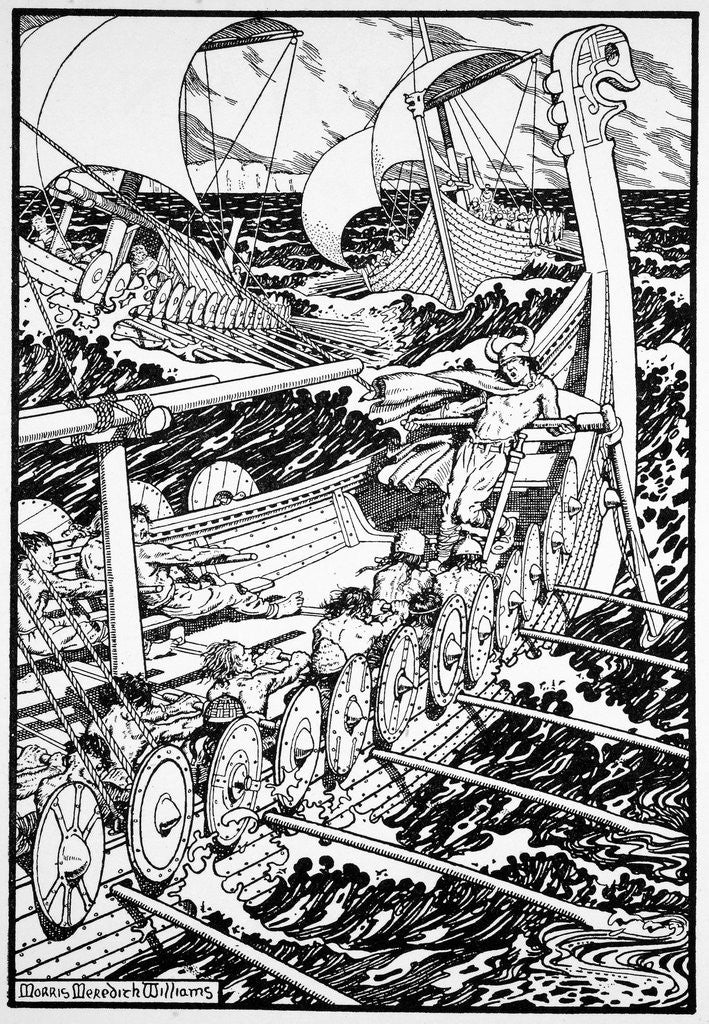 Detail of The Coming of the Northmen by Morris Meredith Williams