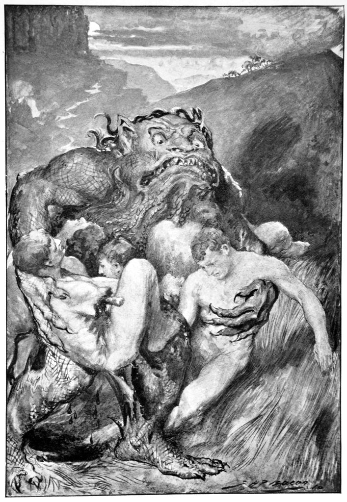 Detail of The Daemon of evil, with his fierce ravening, greedily grasped them by John Henry Frederick Bacon