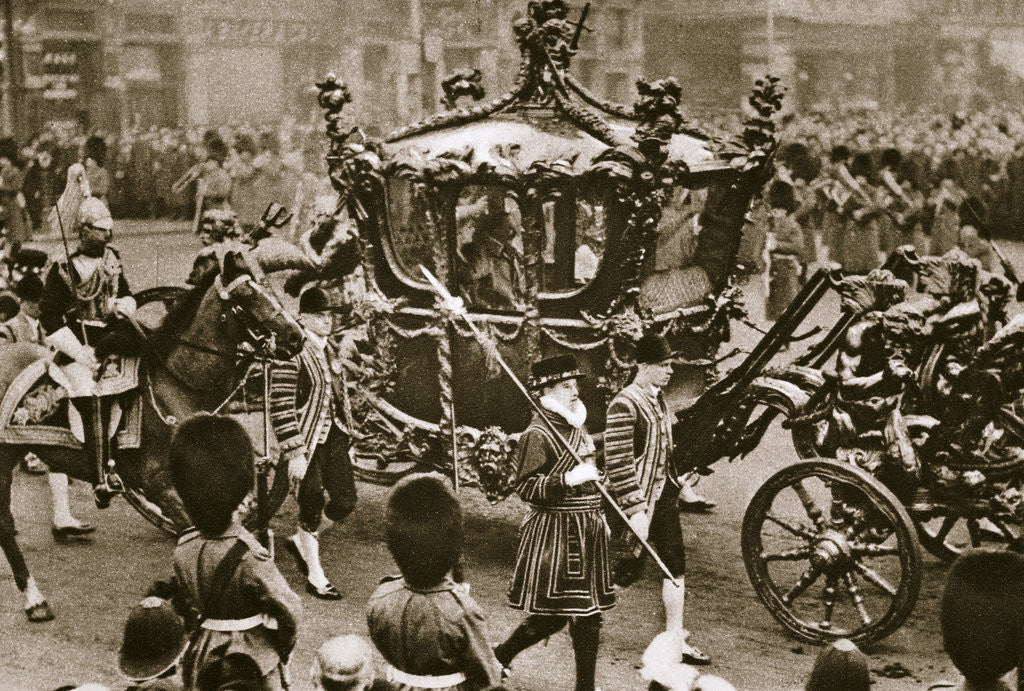 Detail of King Edward VII and Queen Alexandra on their way to the State Opening of Parliament by Anonymous