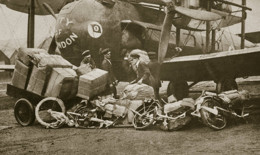 Detail of Loading Vickers-Vimy aircraft 'City of London' with motorbike frames for Cologne by Anonymous