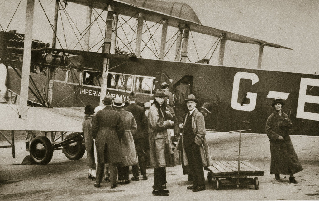 Detail of Passengers boarding an Imperial Airways aircraft for a flight to Paris by Anonymous