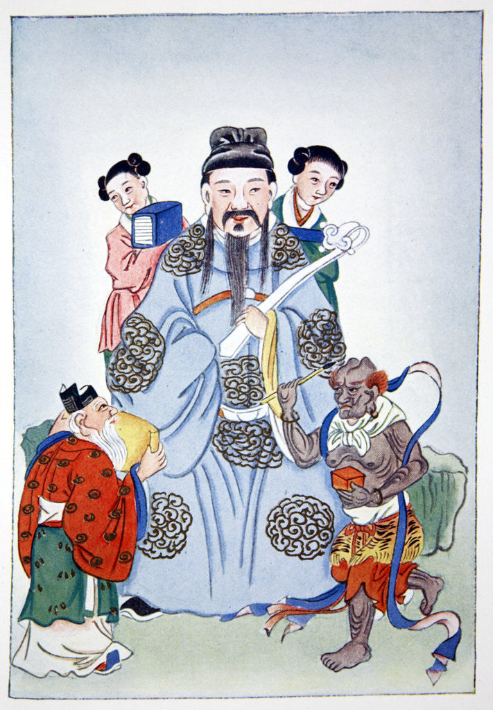 Detail of Wen Ch'ang, K'eui-Hsing and Chu I by Anonymous