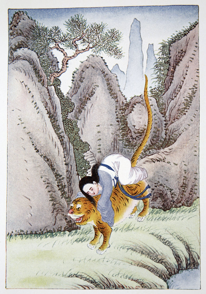 Detail of The Tiger Carries off Miao Shan by Anonymous