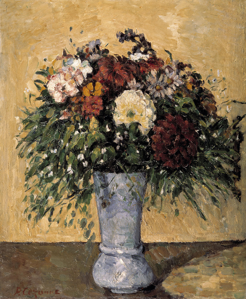 Detail of Flowers in a Blue Vase by Paul Cezanne