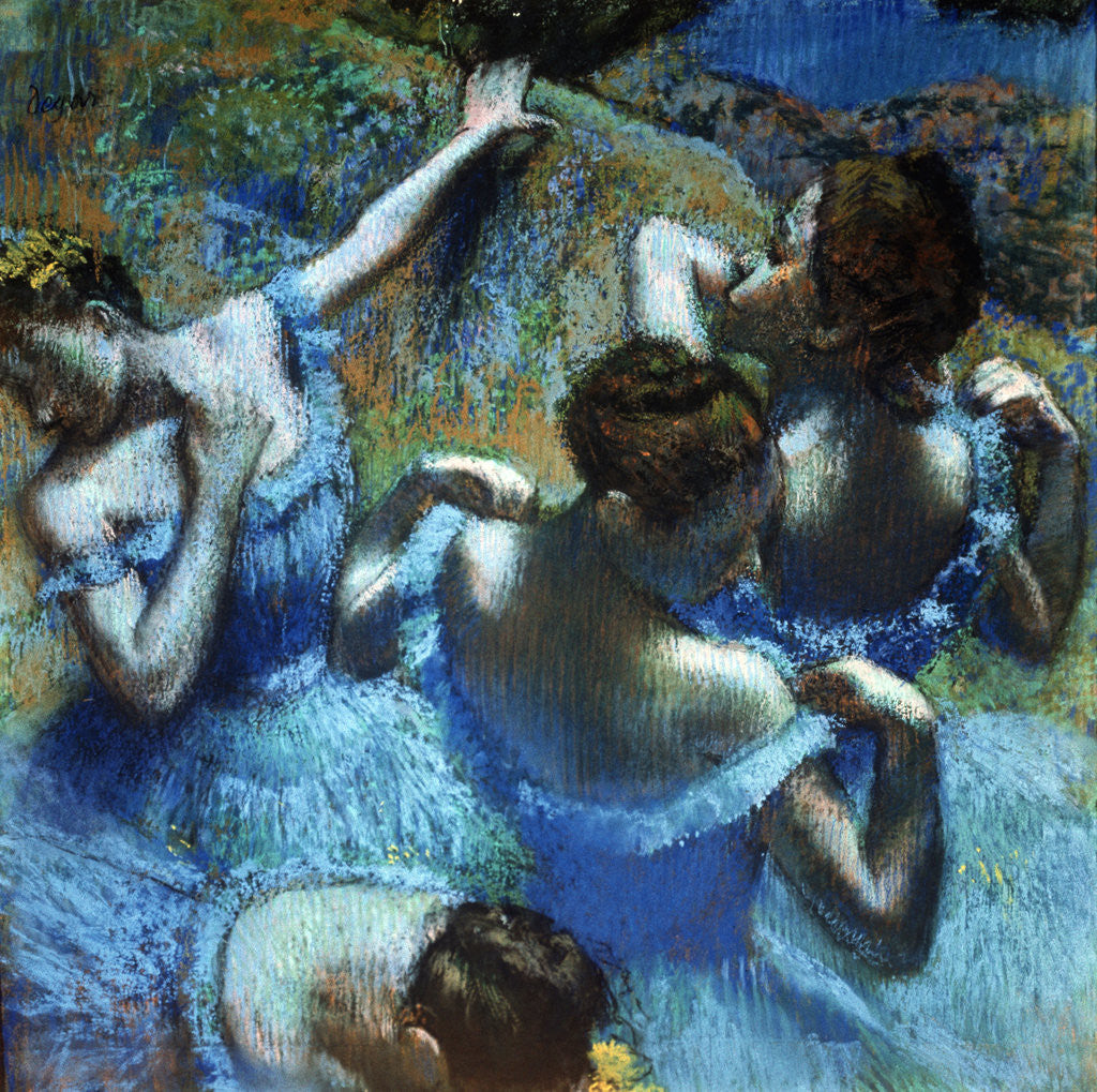 Detail of Dancers in Blue by Edgar Degas