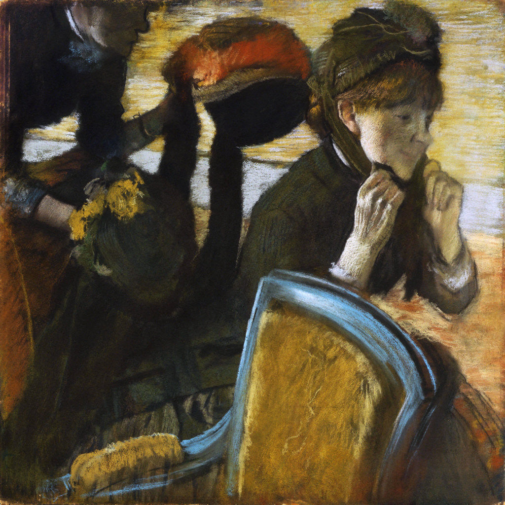 Detail of At the Milliner's by Edgar Degas