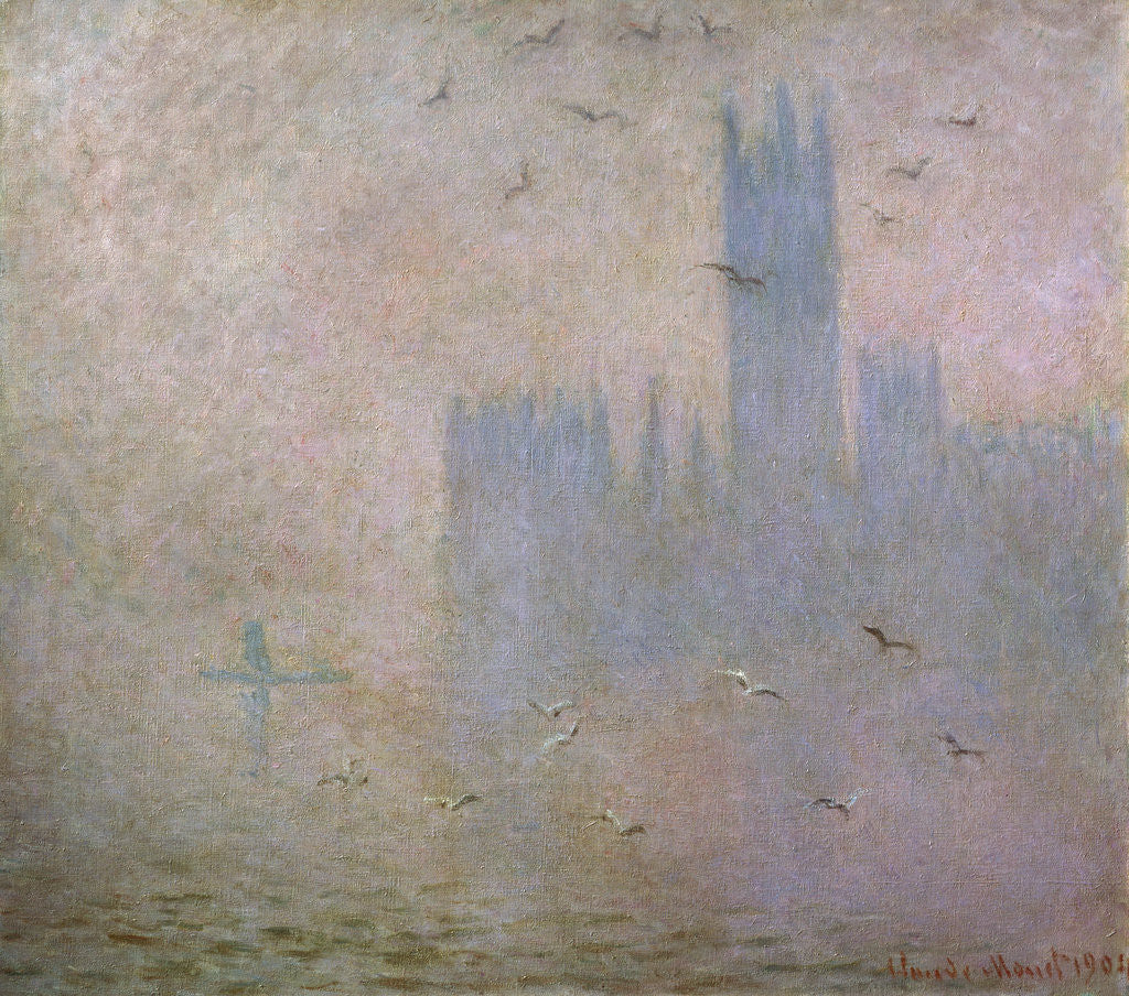 Detail of Seagulls. The Thames in London. The Houses of Parliament by Claude Monet