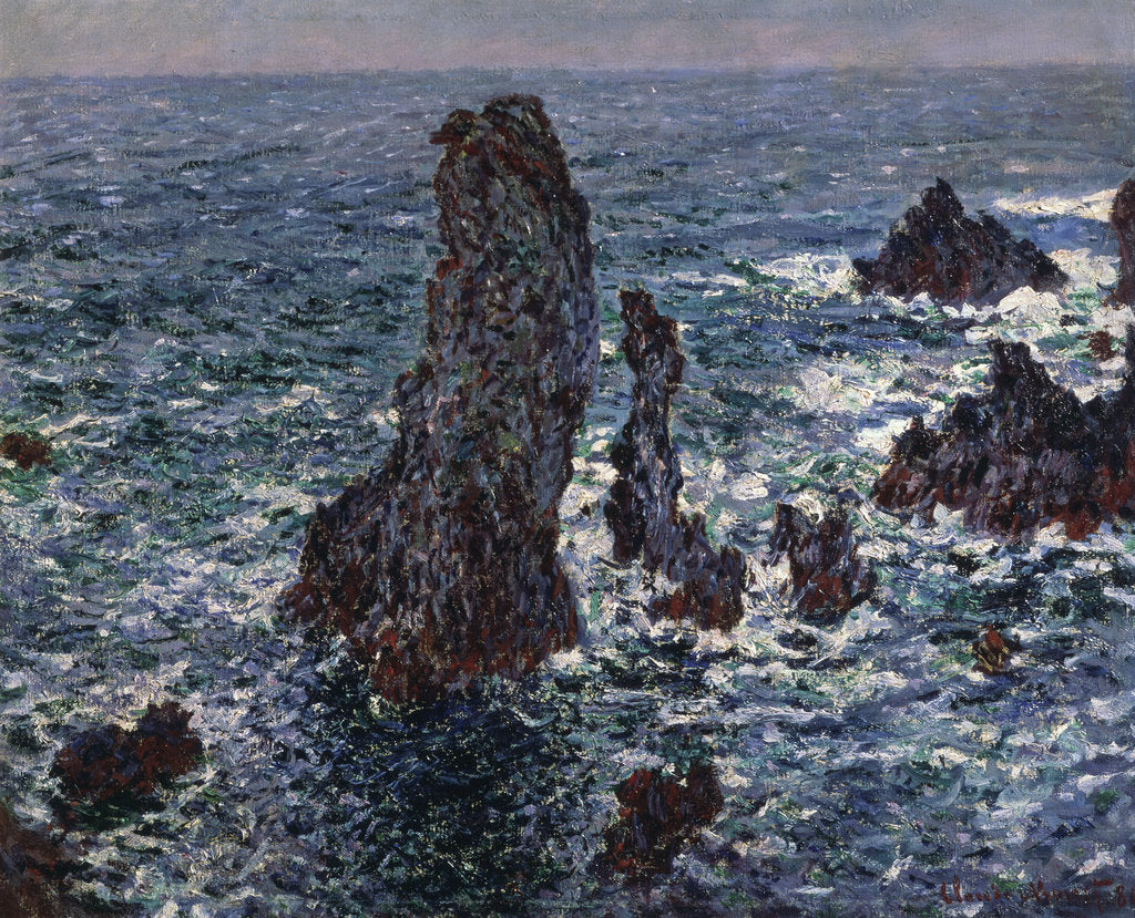 Detail of The Rocks in Belle-Ile (Pyramides de Port-Coton, Mer sauvage), 1886. by Claude Monet