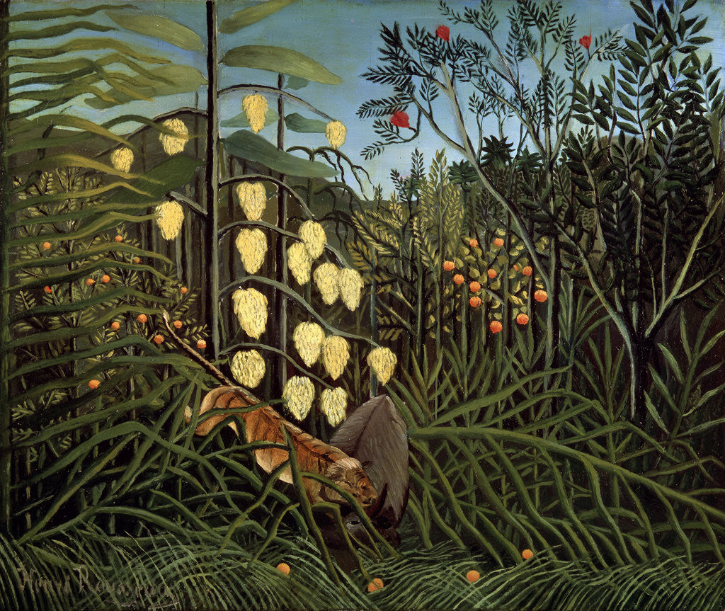 Detail of In a tropical Forest. Struggle between Tiger and Bull by Henri Rousseau