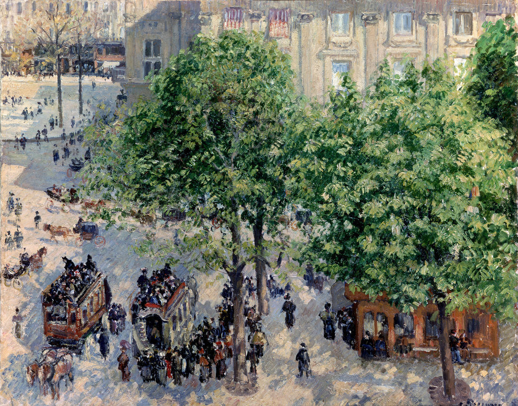 Detail of Place du Théâtre Français in Paris. Spring by Camille Pissarro