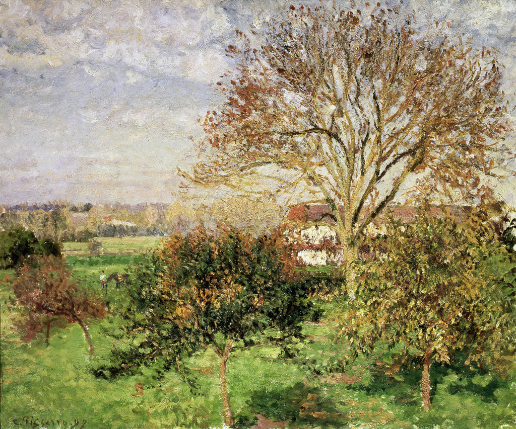 Detail of Autumn morning at Èragny by Camille Pissarro