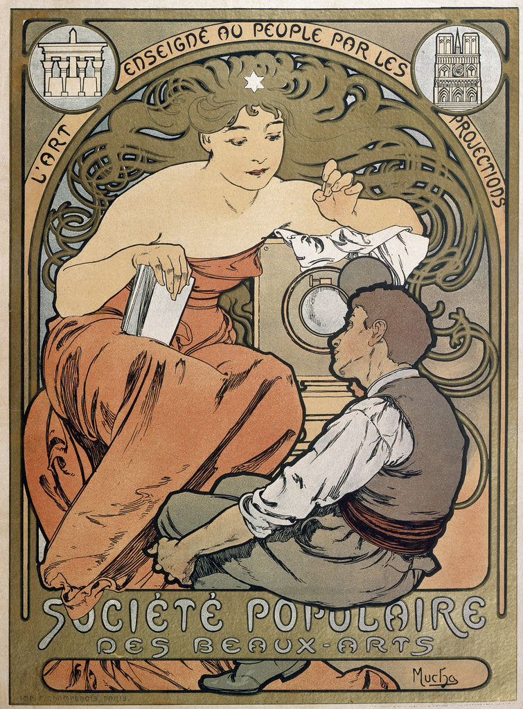 Detail of Poster for the Societe Populaire des Beaux Arts by Alphonse Mucha