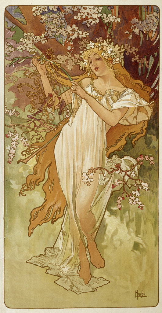Detail of Spring by Alphonse Mucha