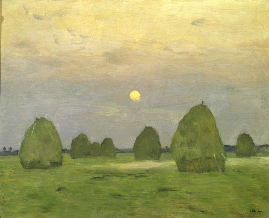 Detail of Twilight, The Haystacks by Isaak Levitan