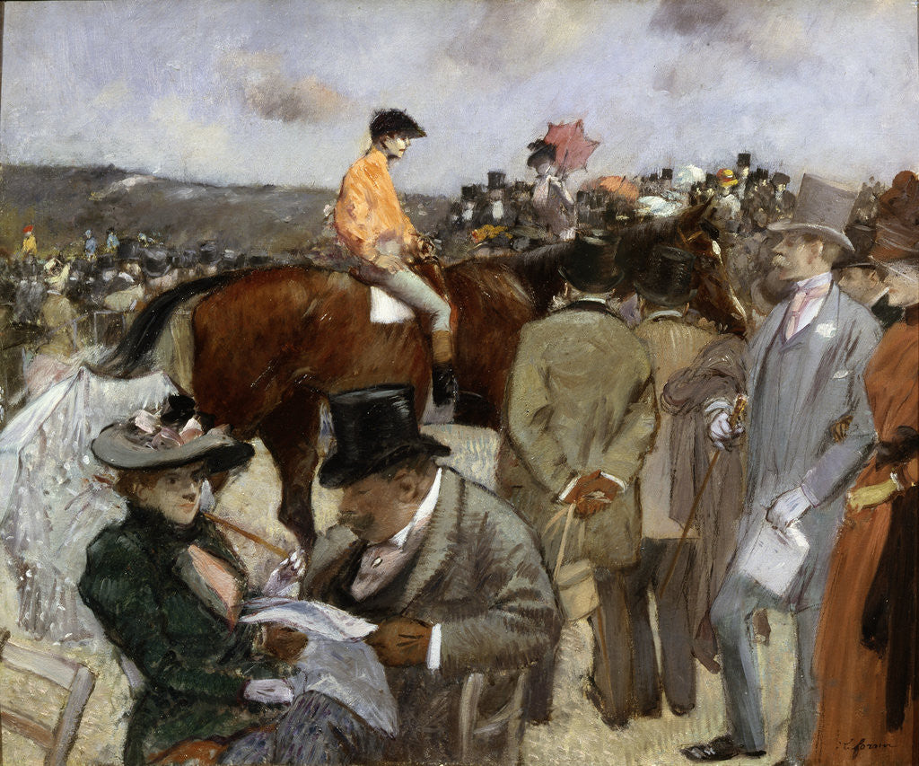 Detail of Horseracing by Jean Louis Forain