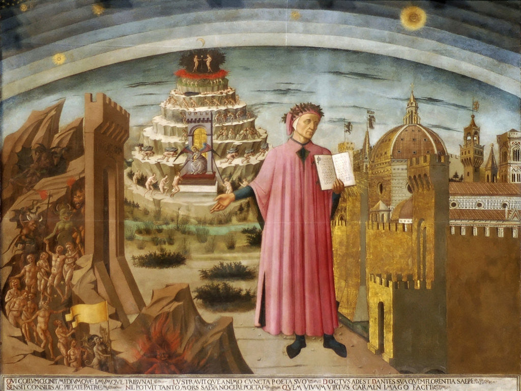 Detail of Dante and the Divine Comedy (The Comedy Illuminating Florence) by Domenico di Michelino