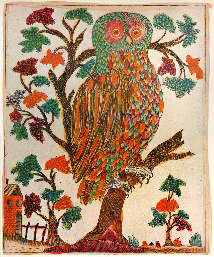 Detail of Owl, Lubok print by Anonymous