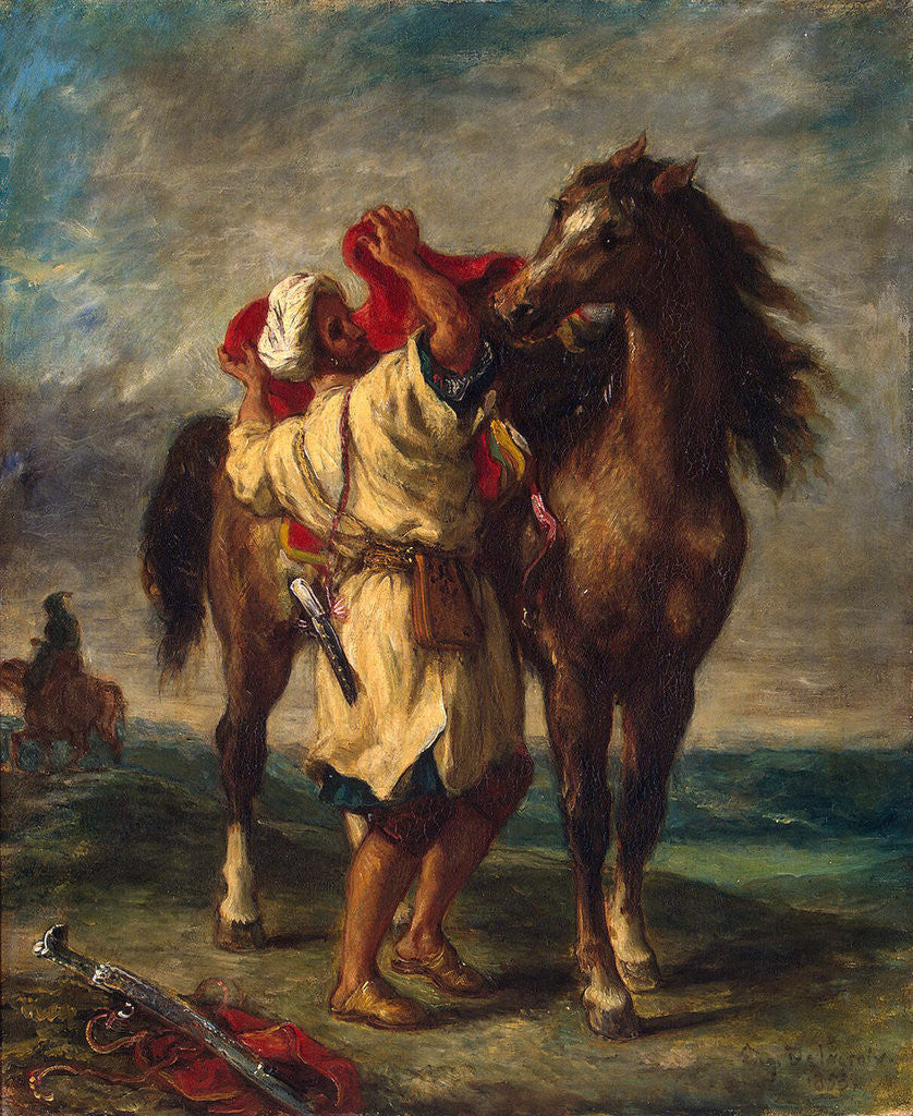 Detail of A Moroccan Saddling his Horse by Eugene Delacroix