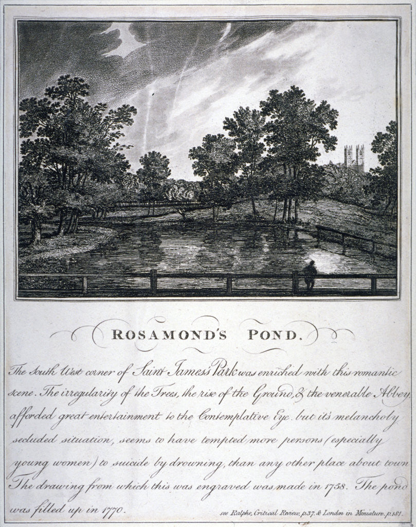 Detail of Rosamond's Pond, St James's Park, Westminster, London by Anonymous