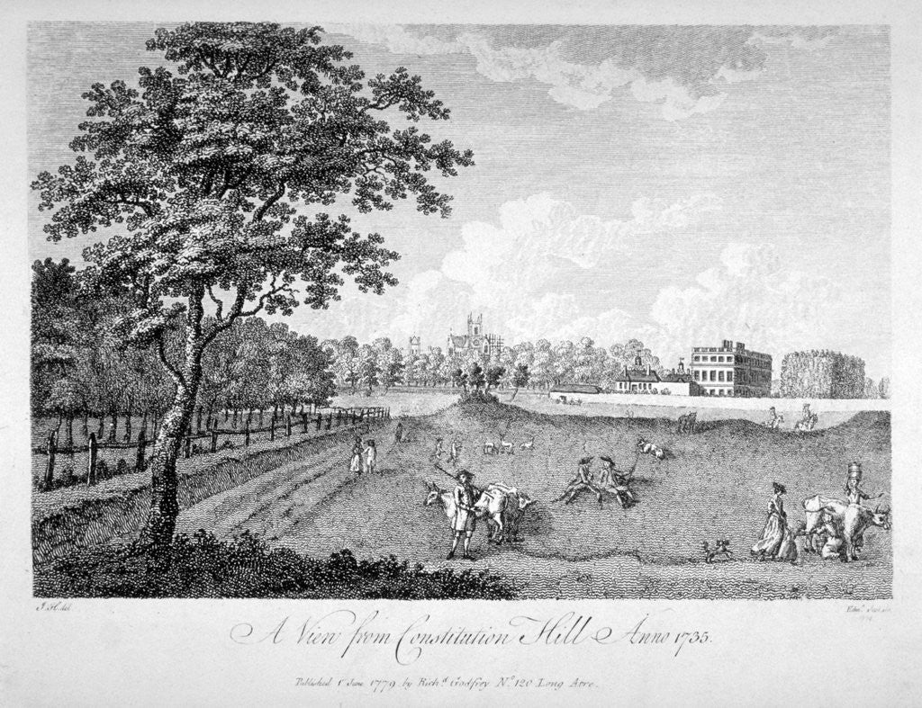 Detail of View of St James's Park from Constitution Hill, Westminster, London, 1735 (1779) by Edmund Scott