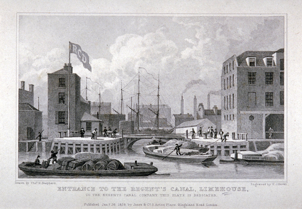 Detail of Entrance to Regent's Canal Dock, Limehouse, London by Frederick James Havell