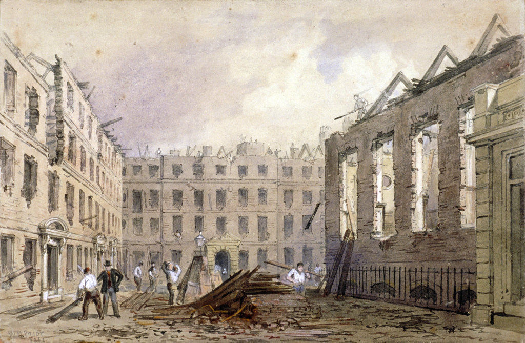 Detail of The demolition of Lyon's Inn, Westminster, London by William Henry Prior