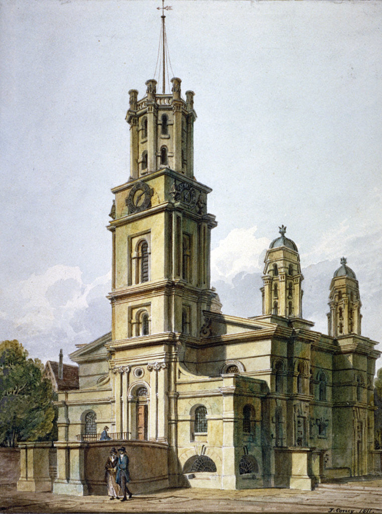 Detail of Church of St George in the East, Stepney, London by