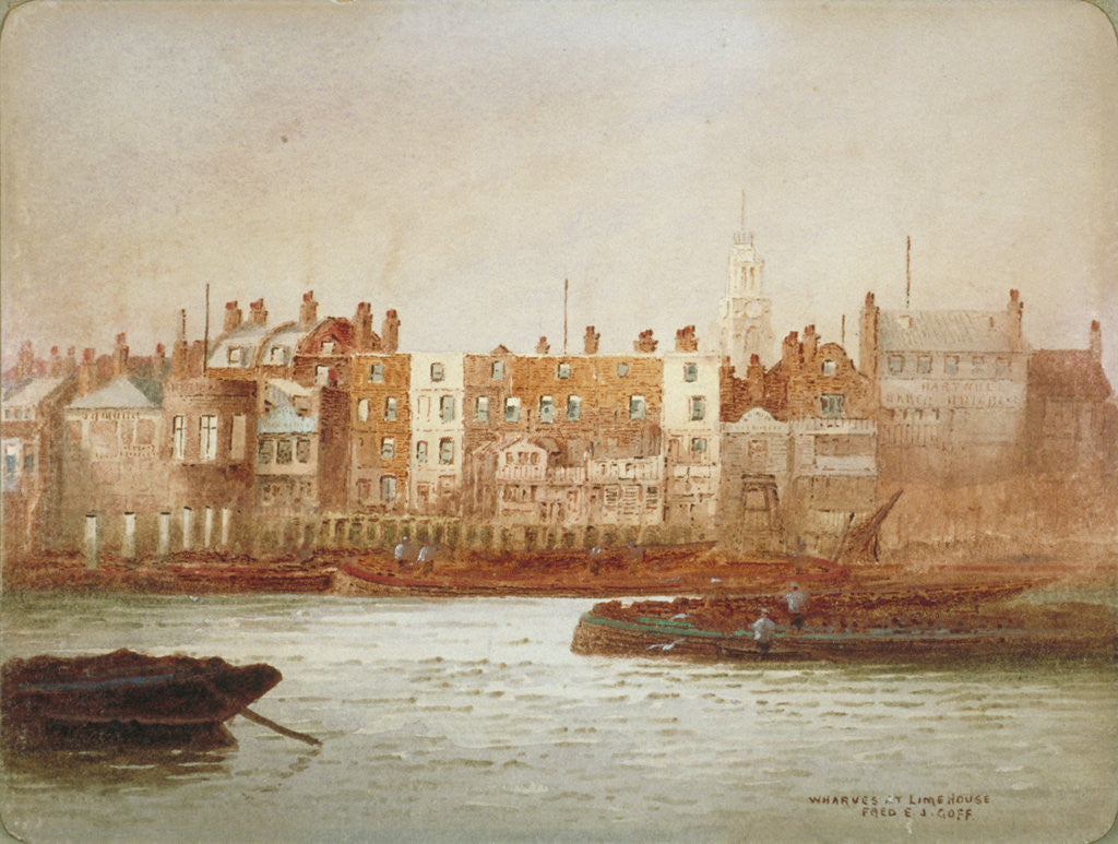 Detail of Wharves at Limehouse, London by Frederick J Goff